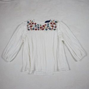White floral embroidered peasant loose top